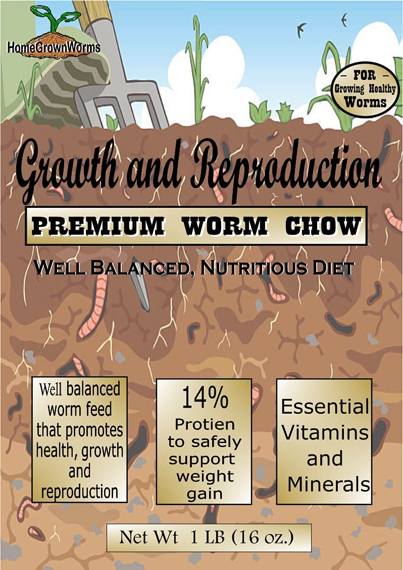 HomeGrownWorms - 1LB Premium Worm Chow, Food for Composing Red Wigglers, Night Crawlers, Millipedes and Other Worms
