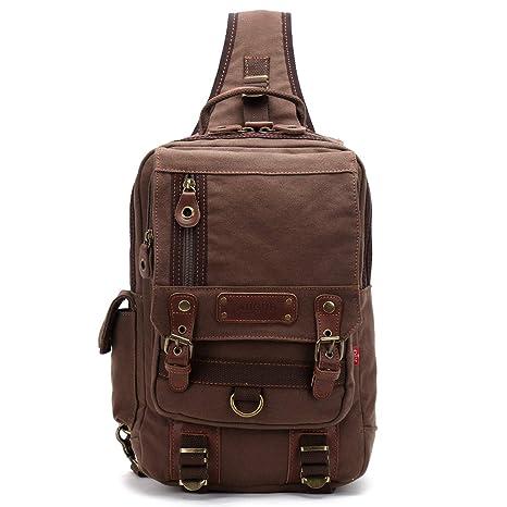 Mochila Bolso Bandolera de Lona para Hombre Bolsa de Hombro Bolsos Cruzados Chest Bag Sport Marrón Oscuro: Amazon.es: Equipaje