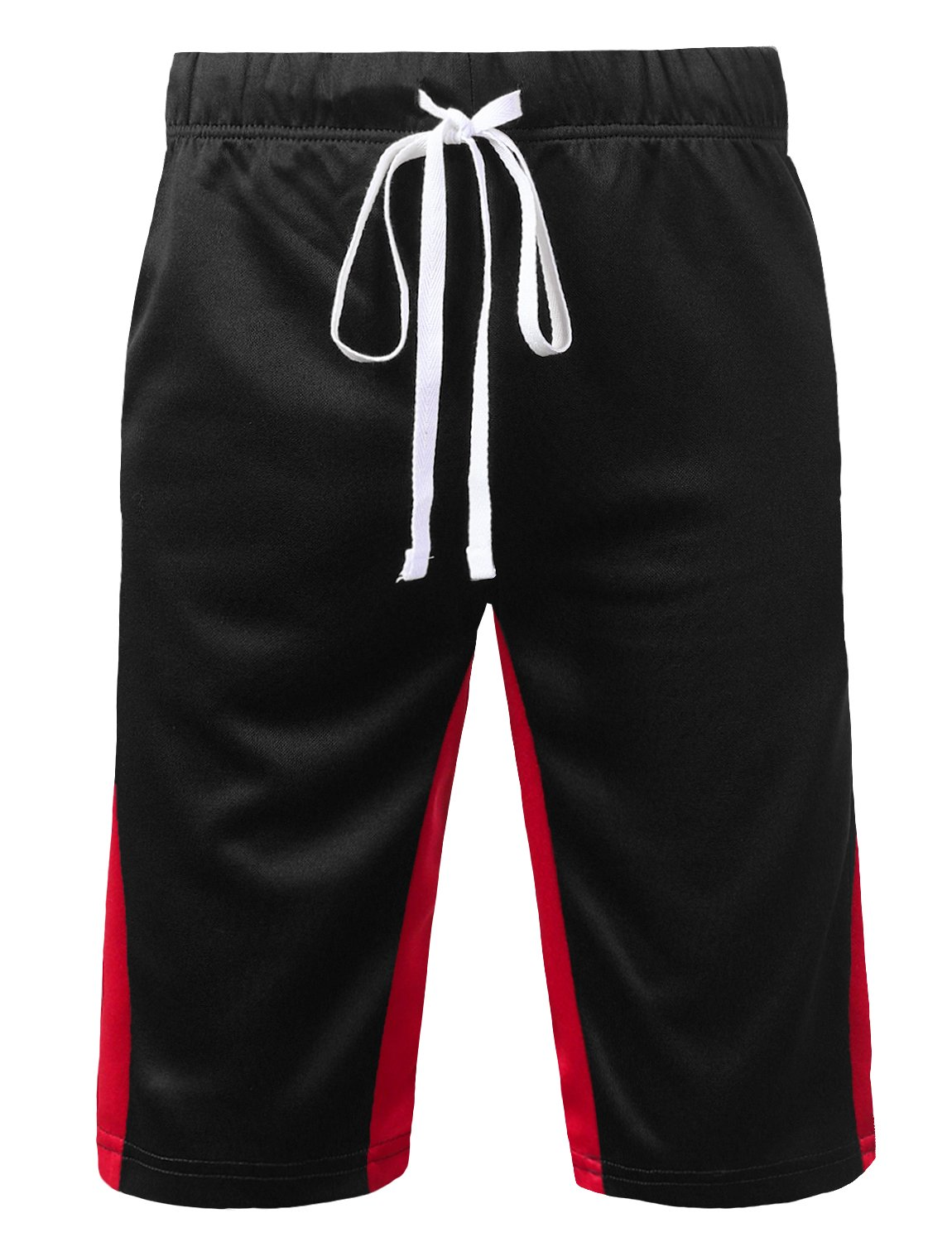 URBANCREWS SHORTS メンズ B07CSHZPMS Large|Ambs051_blackred Ambs051_blackred Large