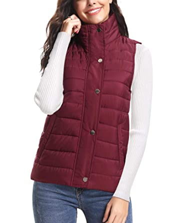 ffe3699a9370 iClosam Women's Winter Puffer Vest Lightweight Packable Down Vest Quilted Jacket  Coat Wine Red