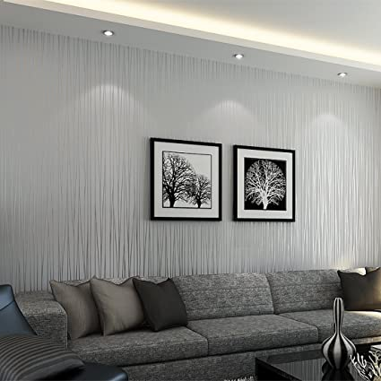 WarmieHomy 10m x 0.53m Textured Non-woven 3D WallPaper Walll Decoration for  Living Room Bedroom Silver Grey