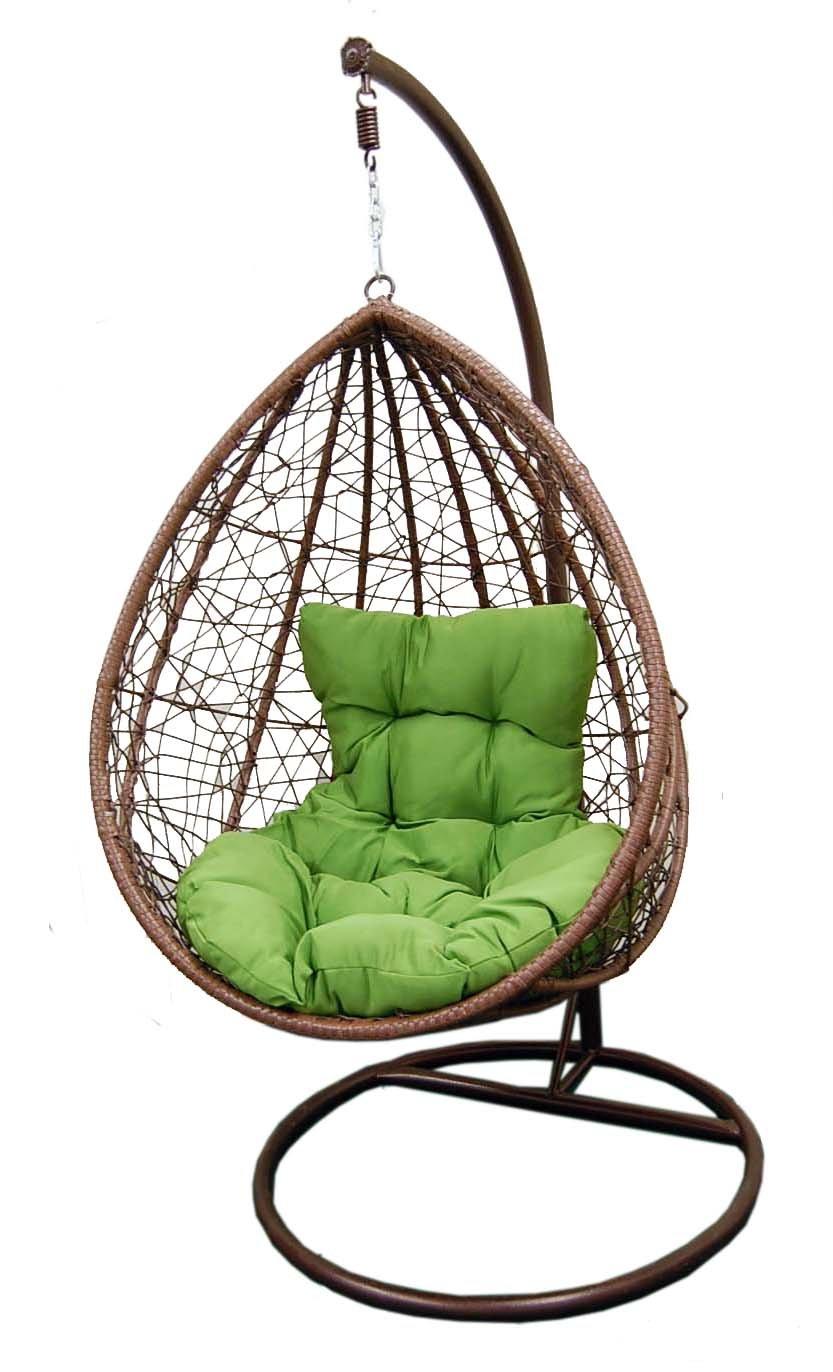 Hanging tear drop Resin Wicker swing Chair & Stand & Cushion green