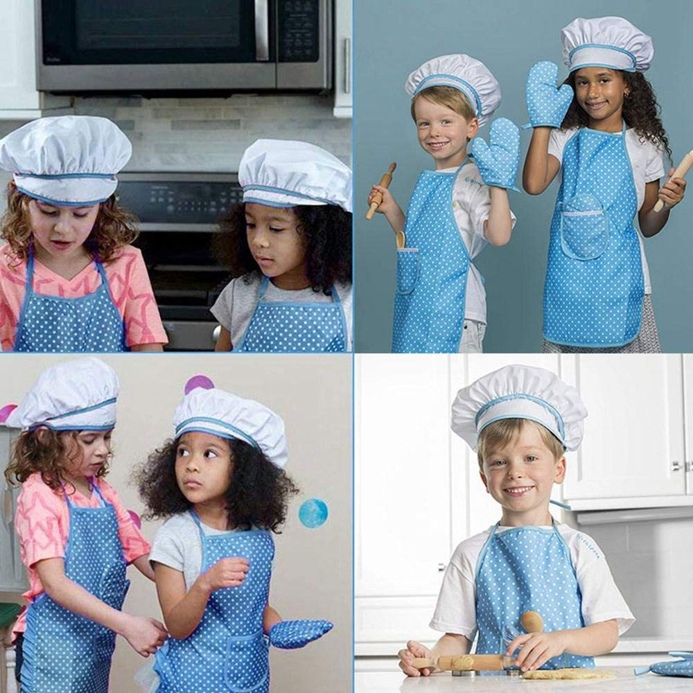 azul 11 piezas juego de cocci/ón de cocinero con delantal otros utensilios para beb/és y chef Juego de delantales para ni/ños manopla de cocina sombrero de cocinero