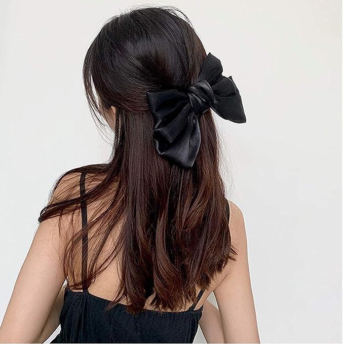 Black Satin Bow Golden Mesh Satin Fabric Flower Banana Hair Clip