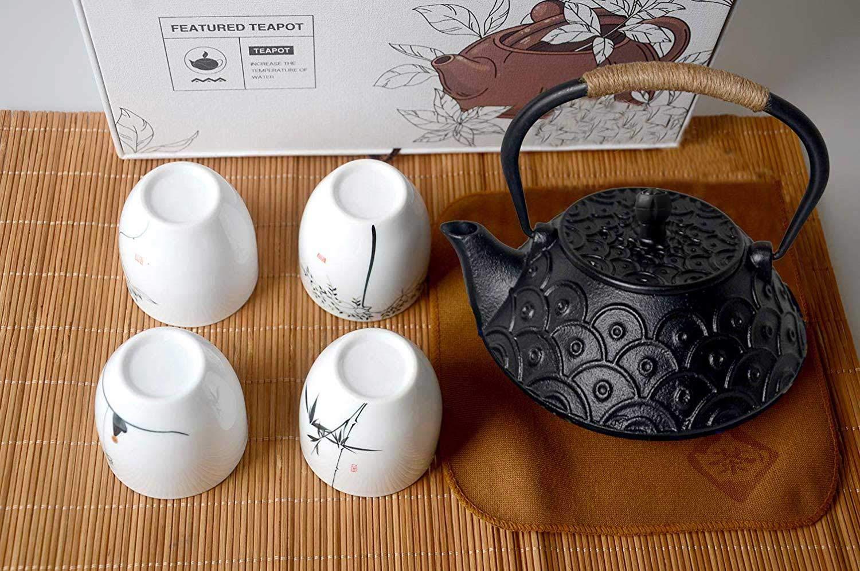 HwaGui teiera Set teiera in ghisa con 4 Whiteware Ceramica Tazze retr/ò 5 Pezzi Set t/è Come Regalo
