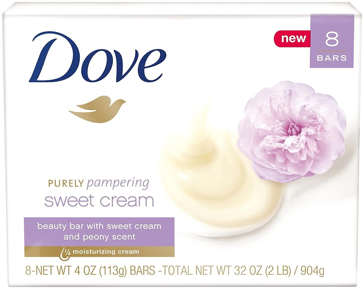 Dove Purely Pampering Beauty Bar Sweet Cream And Peony 4 Ounce, 8 Count