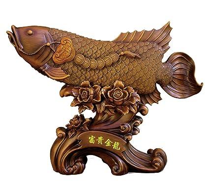 Big Arowana peces Auspicioso Estatua
