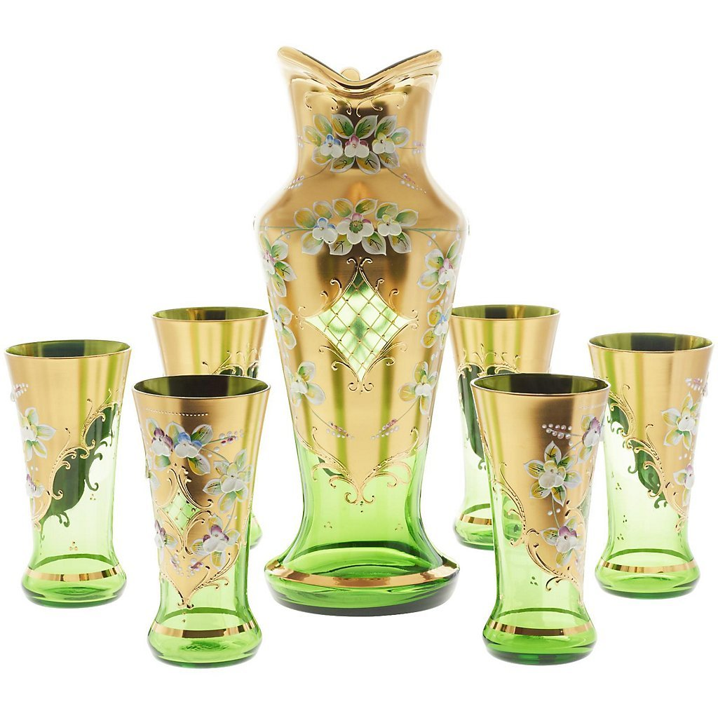 Set of 7 pieces- Exclusive serving set ''Green Queen'' 6 glasses + 1 jug, red/gold, handmade-each piece is unique, modern style (GERMAN CRYSTAL powered by CRISTALICA)