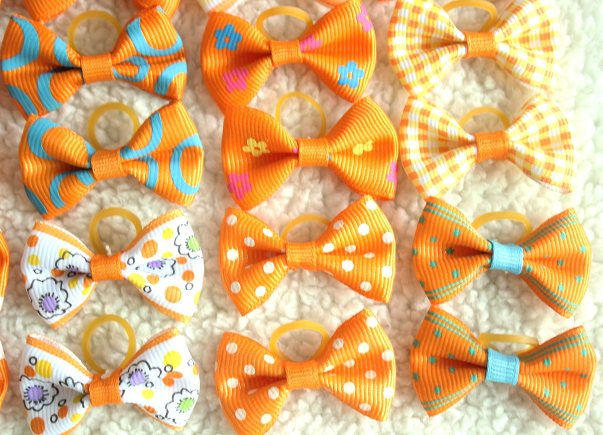 yagopet 40pcs/20pairs Small Dog Hair Bows Autumn Dog Bows Orange Dog Hair Bows Topknot Mix Designs Small Bowknot with Rubber Bands Pet Grooming Products Dog Hair Accessories by yagopet (Image #5)