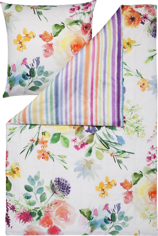 Estella Bettwäsche Flower Power Satin multicolor Größe 240x220 cm (2x 80x80 cm)