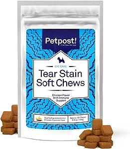 Petpost | Chuches Masticables sabor a Pollo para Quitar Manchas Oculares en Perros – Deliciosos Suplementos para Perros – Tratamiento Natural para Manchas en los Ojos en Perros de Pelaje Blanco –90