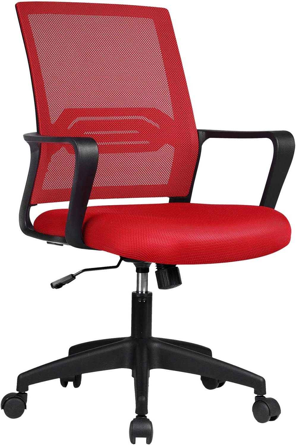 ComHoma Office Chair Ergonomic Desk Chair Mesh Computer Chair Mid Back Mesh Home Office Swivel Chair, Modern Executive Chair with Armrests Lumbar Support(RED),