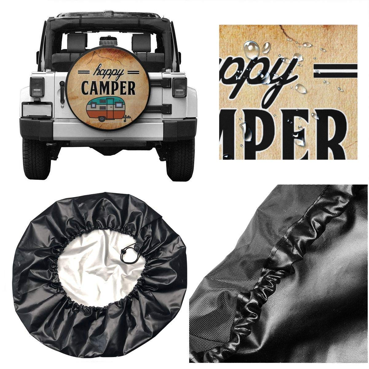 Linzey Tire Cover Happy Camper Camping Potable Polyester Universal Spare Wheel Tire Cover Wheel Covers for Jeep Trailer RV SUV Truck Camper Travel Trailer Accessories 14,15,16,17 Inch