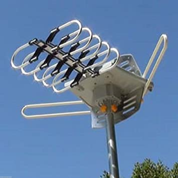 HDTV Outdoor Amplified Antenna HD TV 36dB Rotor Remote 360° UHF//VHF//FM 150 Miles