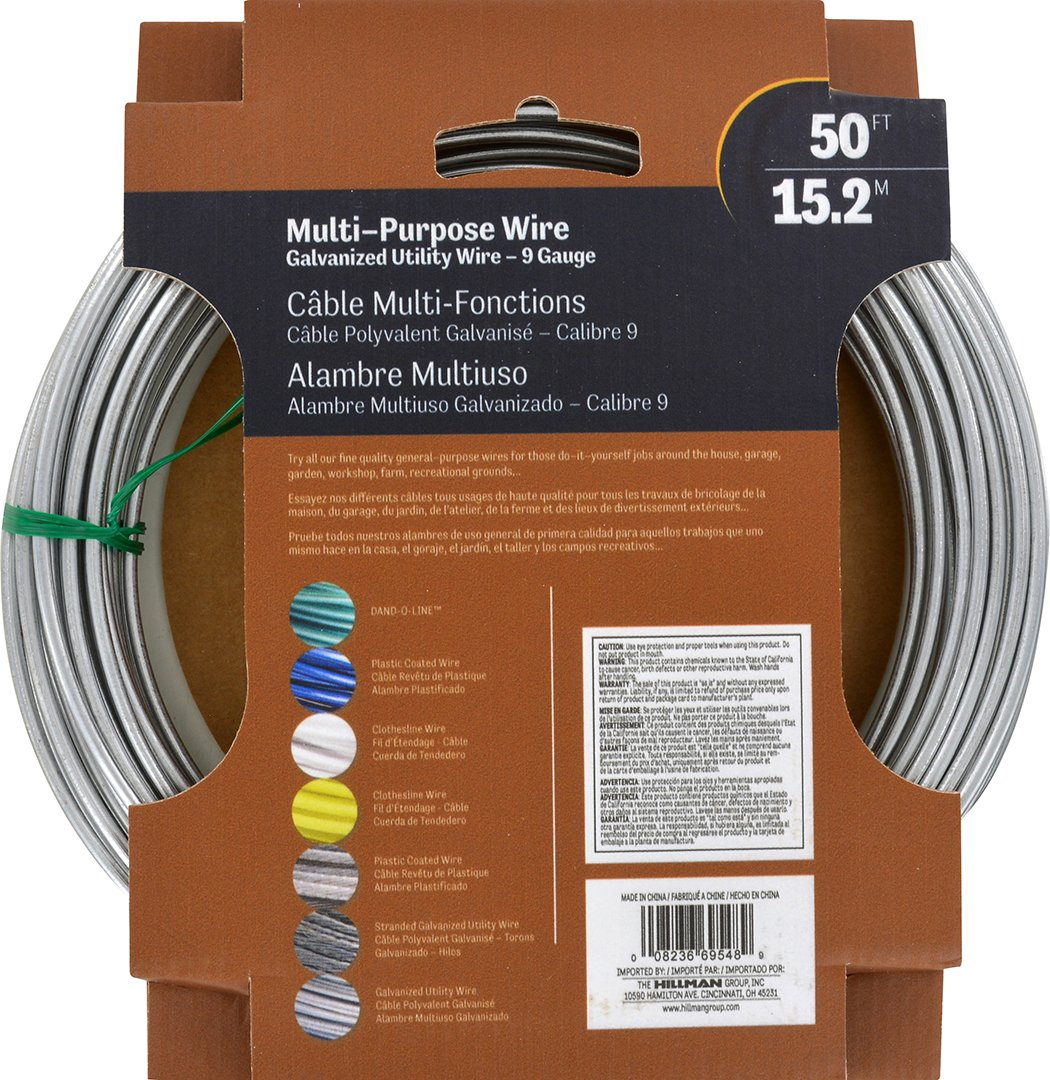 Hillman 122062 Galvanized Solid Wire 9 Gauge 50 Foot House Wiring Coil Home Improvement