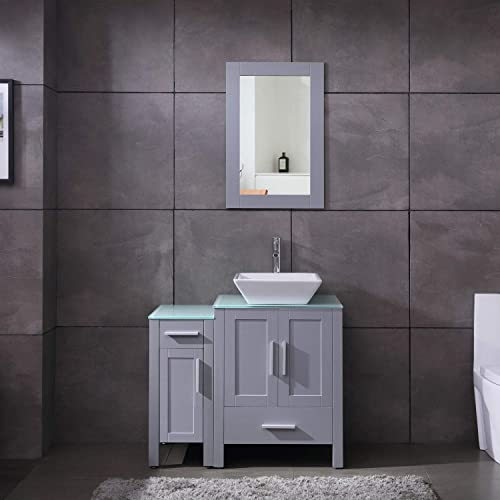 36″ Grey Paint Bathroom Vanity and Sink Combo Glass Top w/Drawer Side,Sink