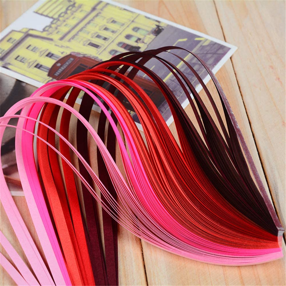 HuntGold 3D Quilling Paper Strip Card Design Making 3mm Gradient for DIY Art Crafts Wedding Party Decor-Purple
