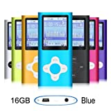 G.G.Martinsen Blue 16GB Versatile MP3/MP4 Player with Photo Viewer, FM Radio and Voice Recorder, Mini Usb Port Slim 1.78 LCD, Digital MP3 Player, MP4 Player, Video Player, Music Player, Media Player