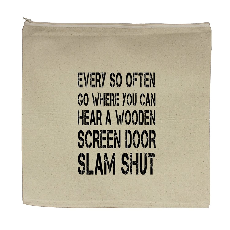 Amazon So Often Wooden Screen Door Slam Shut Canvas Zipper Tote