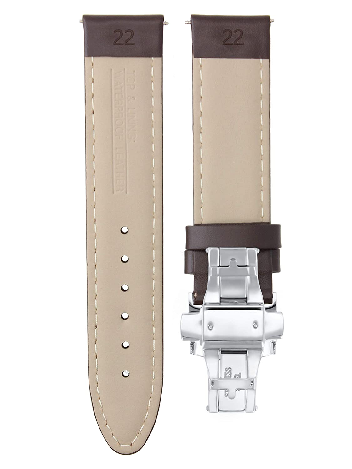 5f92afdb7 Amazon.com: 22MM Leather Strap Smooth Band Deployment Clasp for BREITLING D/ Brown WS #2: Clothing