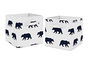 Sweet Jojo Designs Navy Blue and White Woodland Organizer Storage Bins for Big Bear Collection - Set of 2