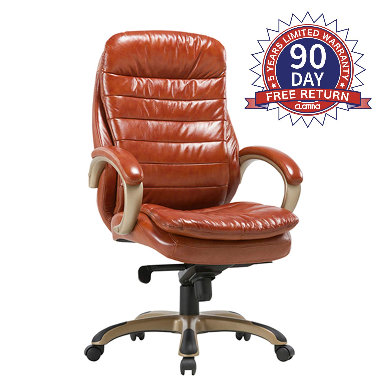 CLATINA Executive Bonded Leather Chair with Lean Forward High Back and Comfort Padding Ergonomic Seat for Managerial Office Home Orange New