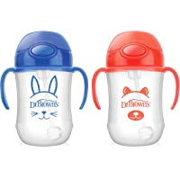Dr. Brown's Baby's First Straw Cup, Cute Critters, 270ml, Blue/Orange, 2ct