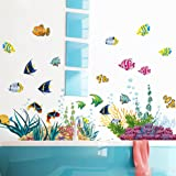 3D Ocean Wall Stickers Fish Undersea World Pasted Bathroom Bedroom Living Room Wall Decal For Kids