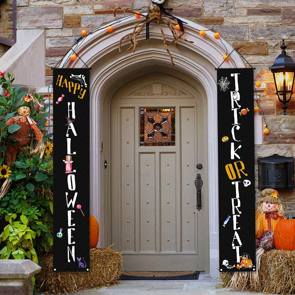 Halloween Felt Decorations Outdoor, Halloween Banner Trick or Treat Set Includes Trick or Treat Banner for Front Door Display and Double Sided Scary Flag for Garden
