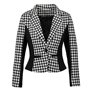 134cdabf75a Kongsta Women Suits Autumn Plus Size 3XL Office Work Wears Slim Black White  Blazer and Cardigans