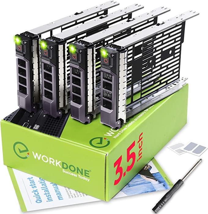 WORKDONE 4-Pack - 3.5 inch Hard Drive Caddy - Compatible for Listed Dell PowerEdge Servers - with Detailed Installation Manual - Sled Front Sticker Labels - Screwdriver- Added Tray Screws