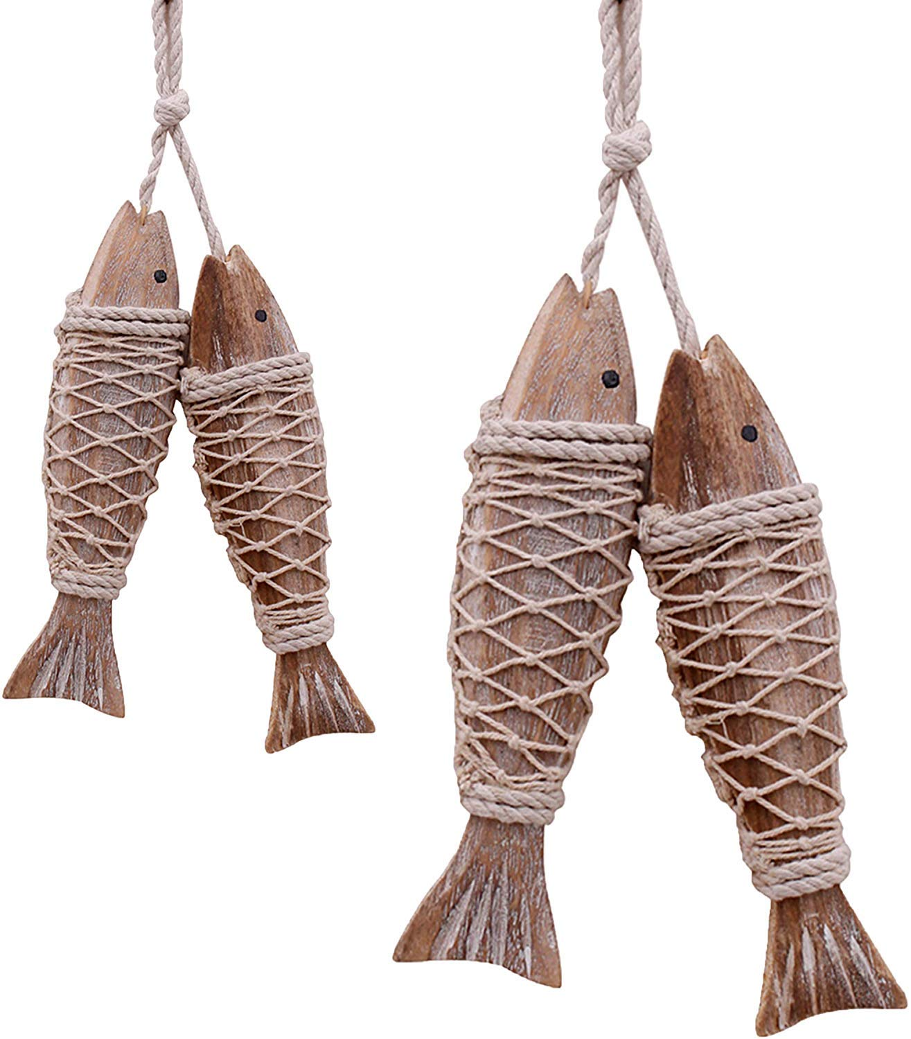 Set of 4 Hanging Vintage Carved Wooden Fish with Fishing Net Decor Hand Carved Nautical Decorated Wood Decor Distressed Wall Art Wood Fish Ornament Nautical Beach Lakehouse Themed Wall Decoration