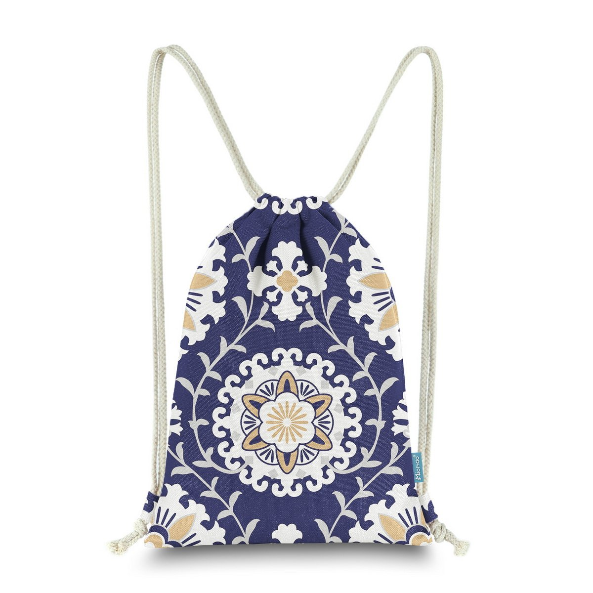 Miomao Drawstring Backpack Gym Sack Pack Dahlia Style Floral Sinch Sack Canvas String Bag Beach Cinch Pack For Men & Women 13 X 18 Inches Navy Blue