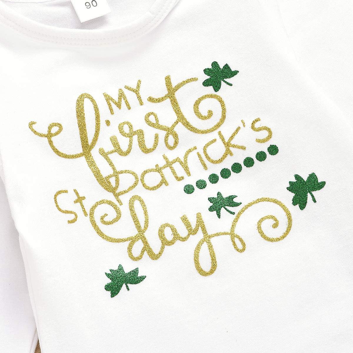 Patricks Day Romper Bodysuit Tutu Skirt Leg Warmers Headband Set Wide.ling 4PCS Infant Baby Girls Clothes My 1st St