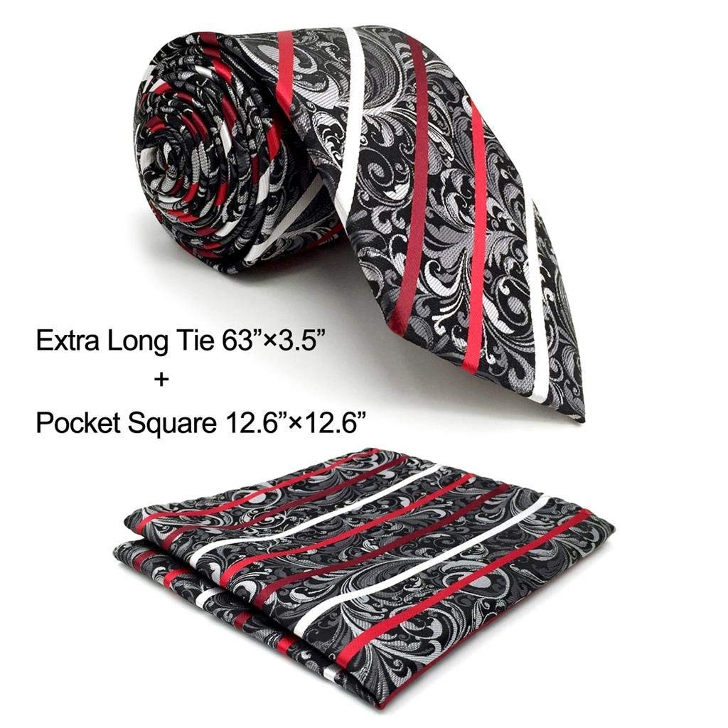 Shlax&Wing Designer Geometric Neckties For Men Red Black White Tie Wedding New