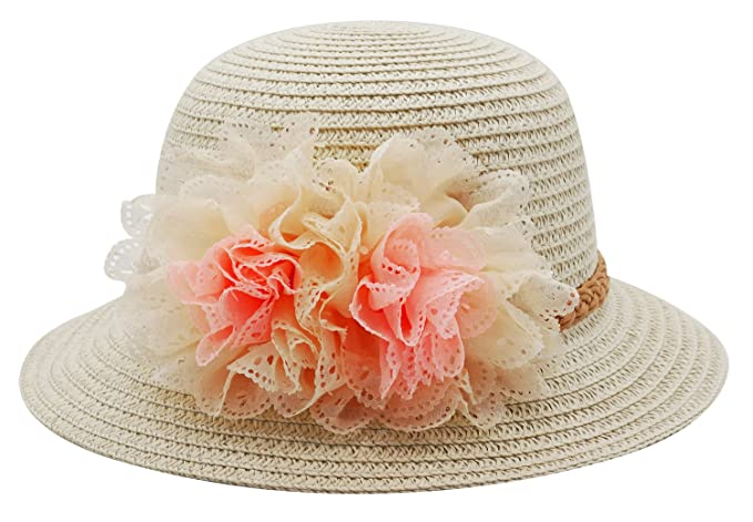 8fdb5d4e112 Bienvenu Summer Baby Girl Half a Flanging Straw Hat Beach Sun Cap With Two  Flowers