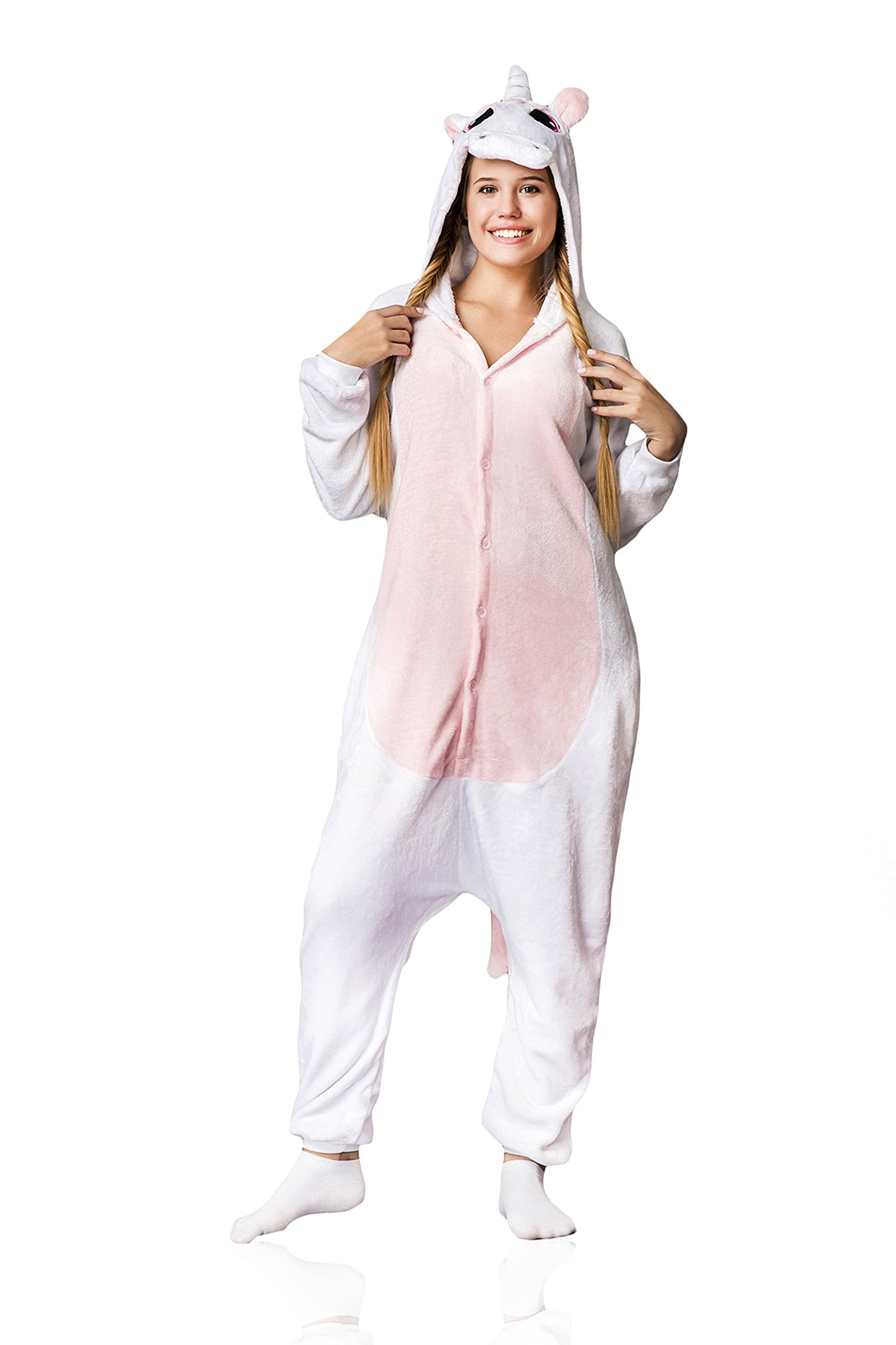 Adult Unicorn Kigurumi Animal Onesie Pajamas Plush Onsie One Piece Cosplay Costume (S, white, pink)