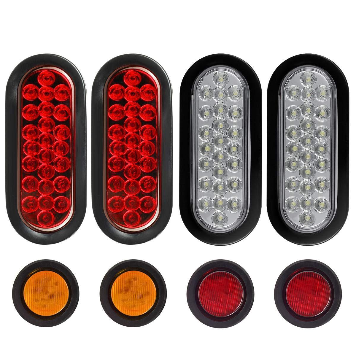 Partsam Oval Led Trailer Lights Kit, 6 Inch Trailer Tail and Backup Lights, 2'' Inch Sealed Round led Side Marker Lights, Oval Led Stop Turn Tail Brake Reverse Lights(Pack of 8) by Partsam