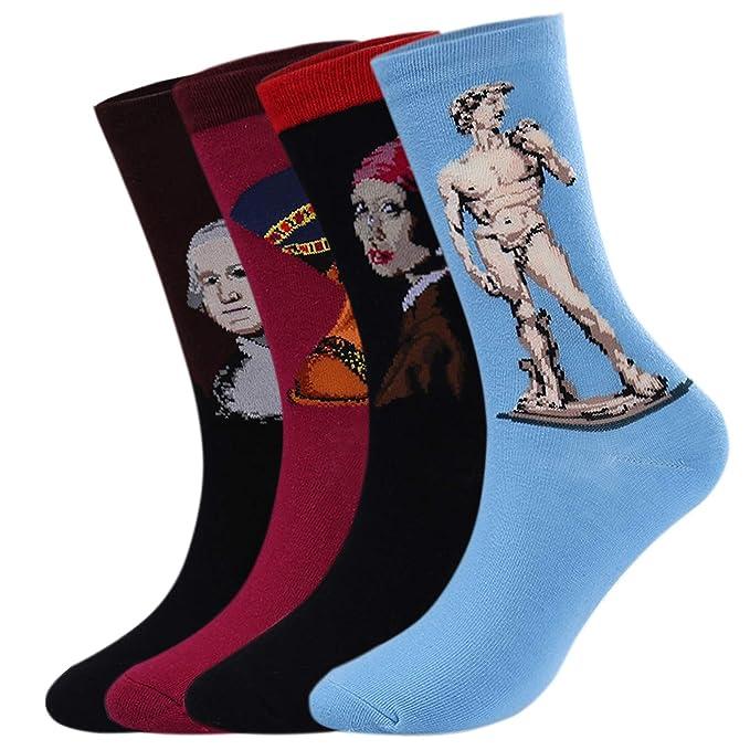 Aibrou Calcetines Mujer/Hombre Ocasionales Divertidos Impresos de Algodón de Pintura Famosa de Arte Calcetines Pack 4/6: Amazon.es: Ropa y accesorios