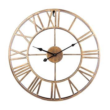 Tosbess 50CM Relojes de Pared Silencioso Grandes Originales de Metal Estilo Vintage para el hogar/la Cocina/la Oficina/la Escuela: Amazon.es: Hogar