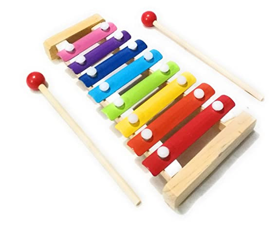 Crafts India Wooden Xylophone Musical Toy with 8 Notes for Kids, (Multicolour)