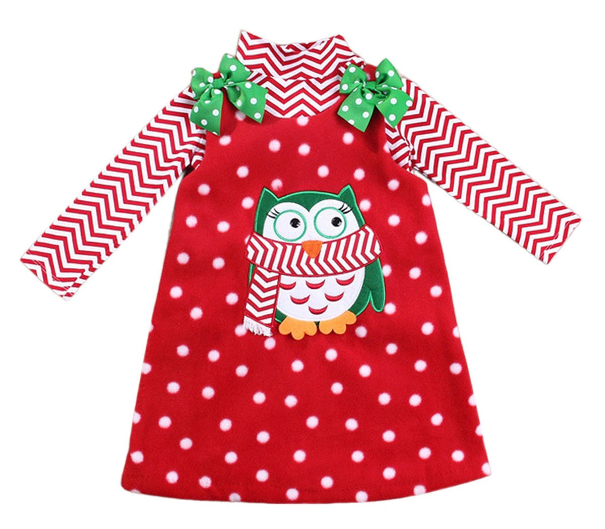 Happy Cherry Baby-girls Polka Dot Bowknot Christmas Outfit Dress Cute Owl Toddler Skirt 1-2T