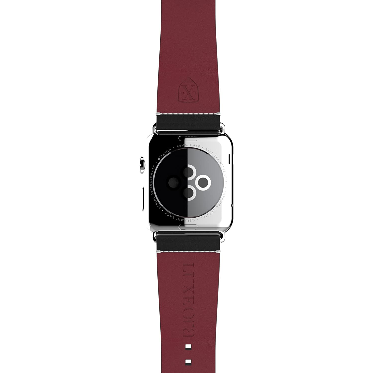 f4038602798 Amazon.com  LUXEORA Element Leather Band Strap with Polished Stainless  Steel Buckle - 44 42mm - Onyx Black and Red - Compatible with Apple Watch  Series 4 3 ...