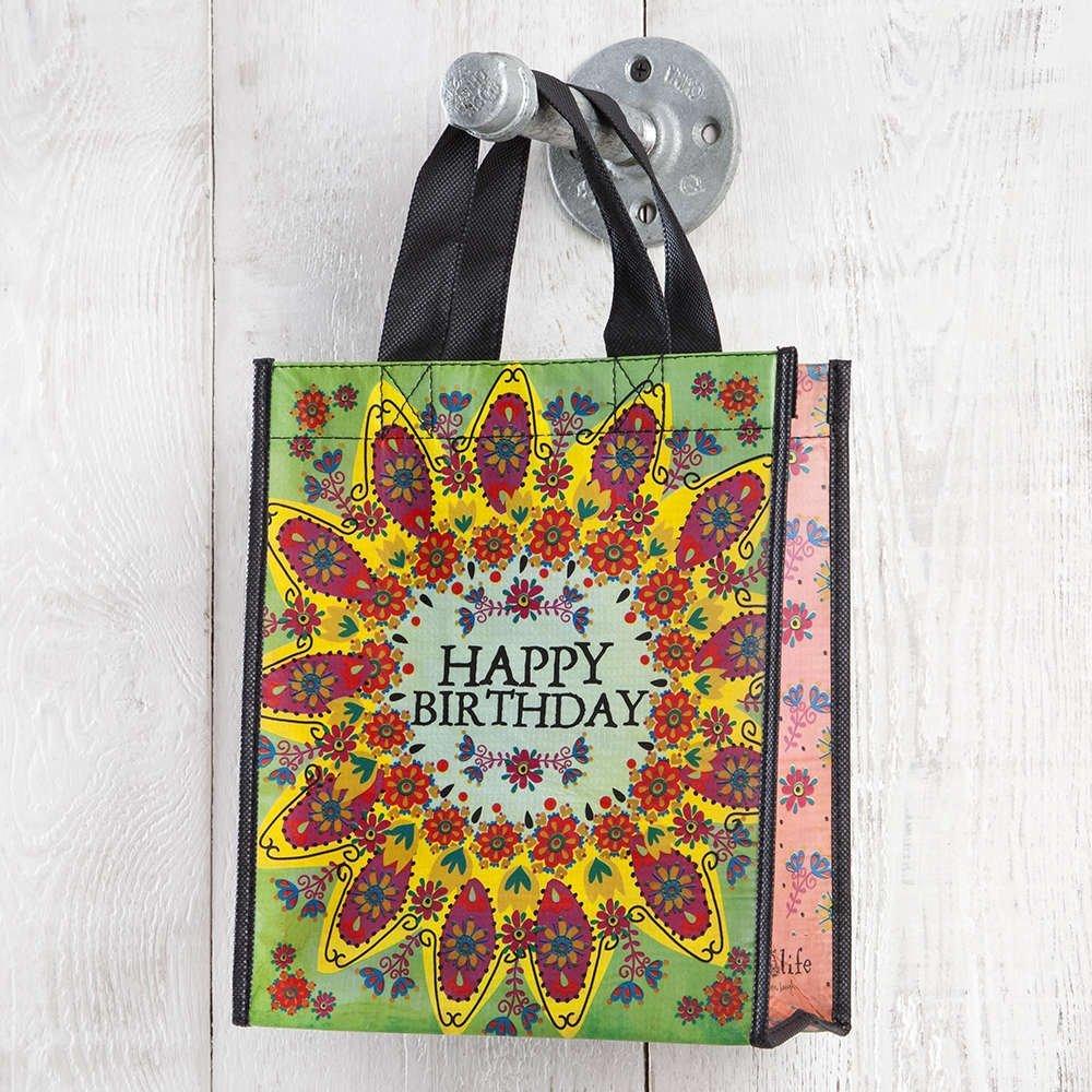 Set of 3 of Recycled Bags - Happy Birthday Green Flower - Medium
