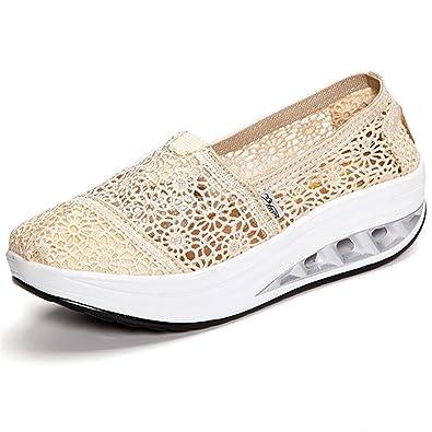 Gracosy Mocassins Femme Fille, Chaussures Bateau de Ville en Dentelle Basses  à Talons Plateforme Compensées 264742253bcf