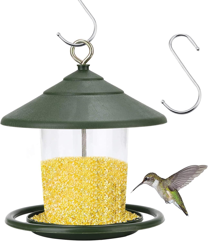 Elinala Comedero Pajaros Exterior, Comedero Pajaros Silvestres, Comedero para Pájaros Colgante de Plástico Transparente para Balcón al Aire Libre (Verde)