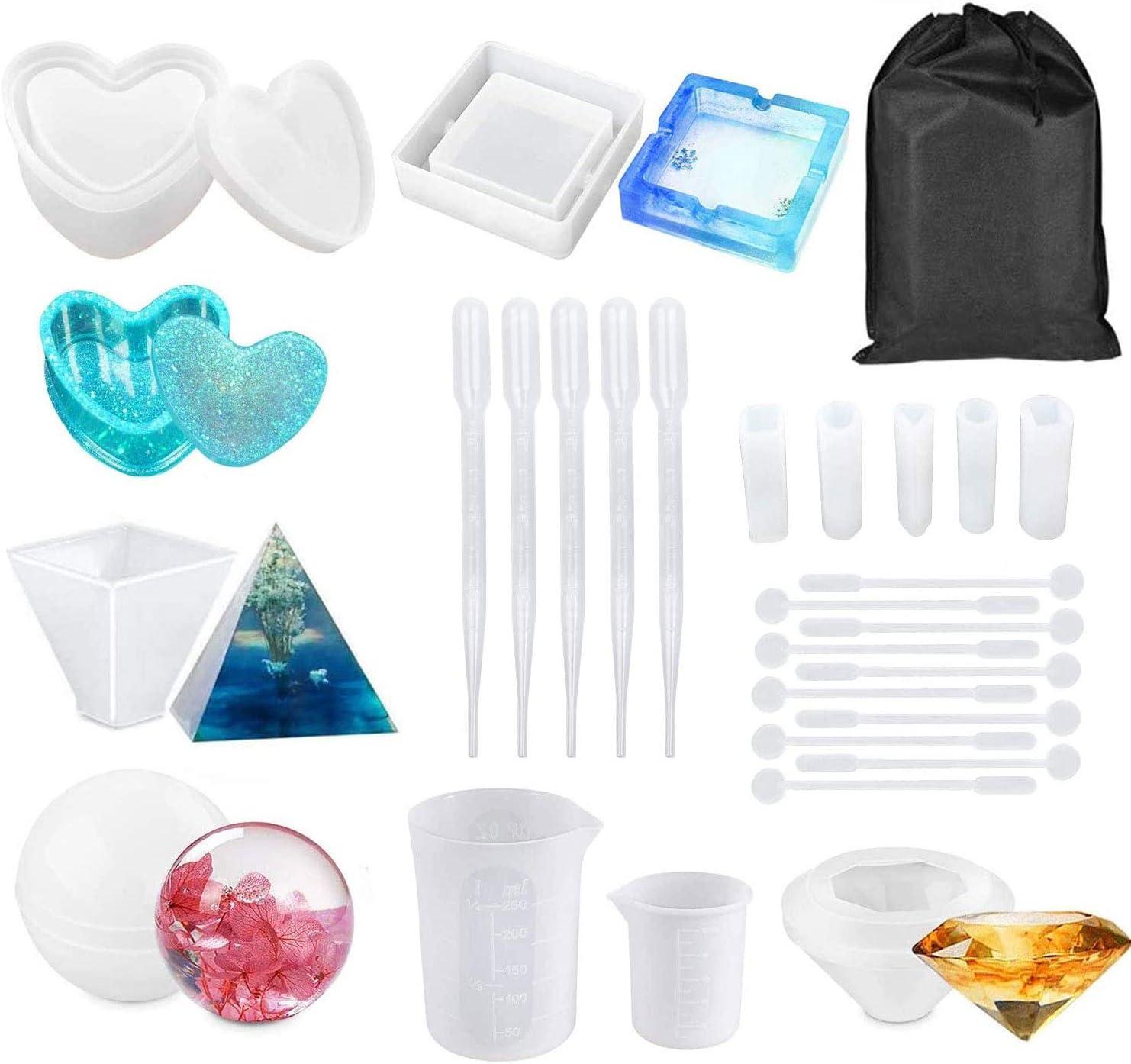 Sweetone Molde de resina de silicona, moldes de silicona de resina epoxi, juego de resina esférica con forma de corazón, caja de joyas de silicona, diamante, pirámide, colgante triangular