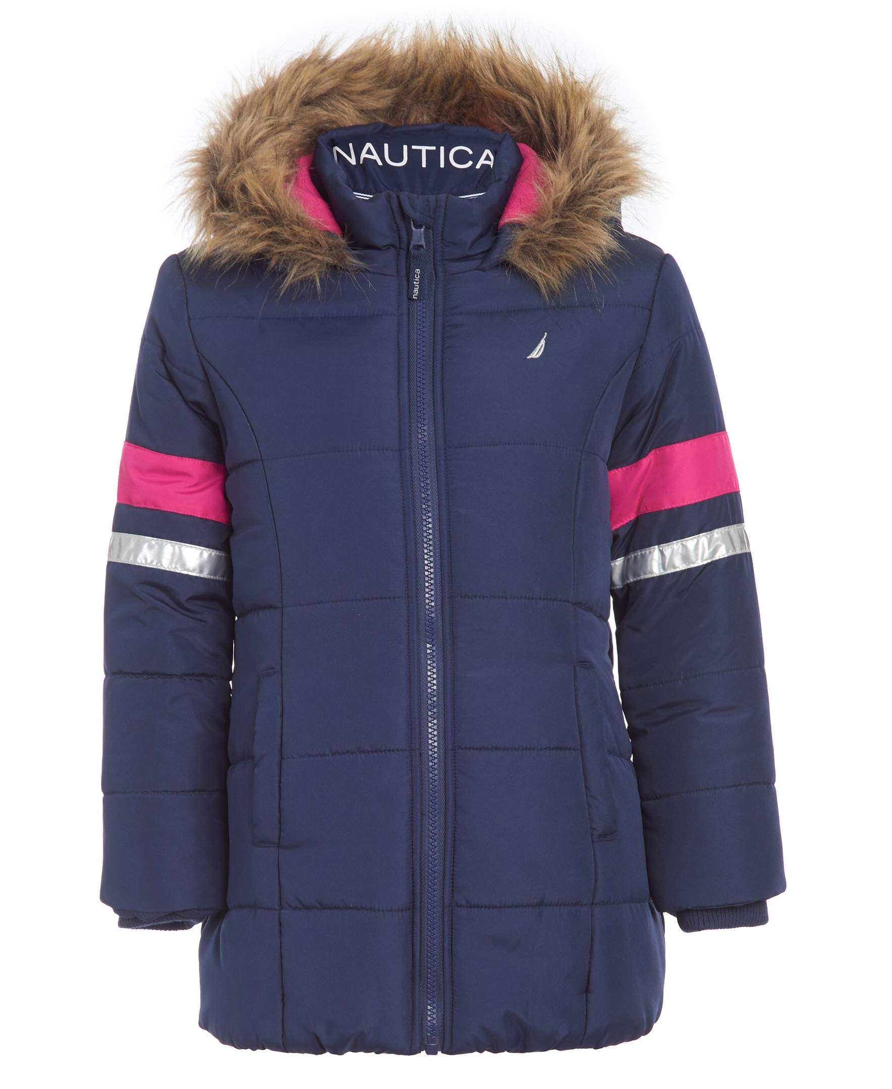 Nautica Toddler Girls Heavy Weight Long Length Jacket with Faux Fur Hood, Navy, 4T by Nautica
