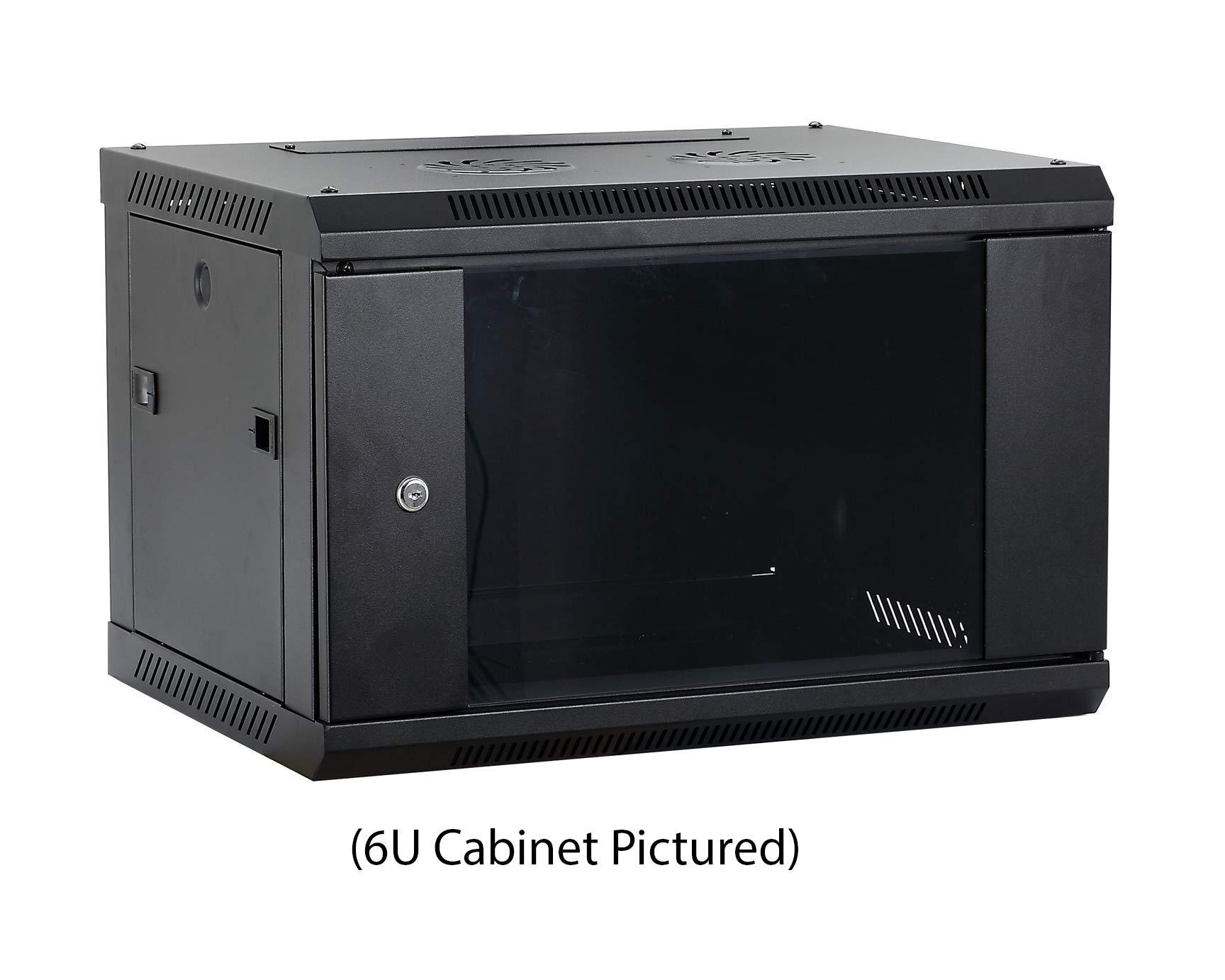 Kenuco 9U Wall Mount Rack Server Cabinet Data Network Enclosure 19-Inch Server Network Rack with Locking Glass Door Black