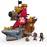 """Fisher-Price Imaginext Shark Bite Pirate Ship, Roll from one swashbuckling adventure to the next with this pirate ship playset featuring """"shark biting"""" action!"""